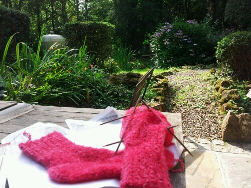 Sock knitting in the sunshine